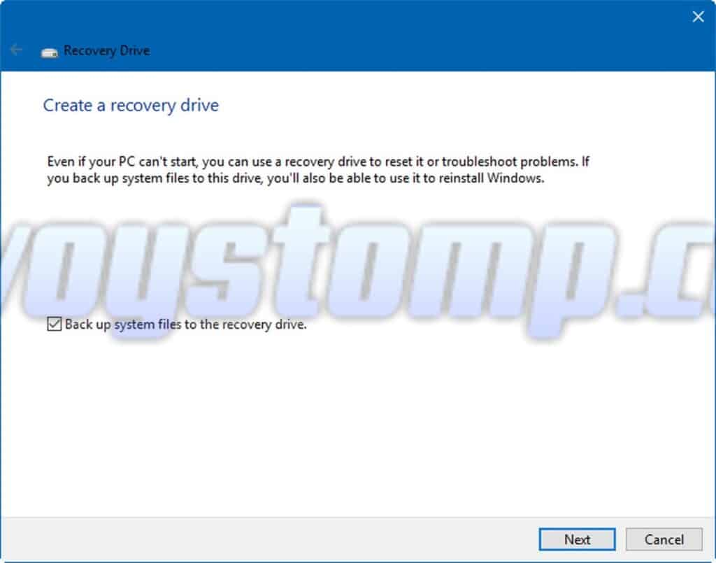 Back up system files recovery drive